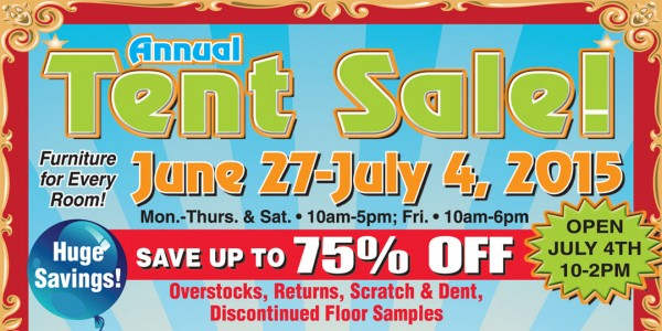 Annual Tent Sale June 27 – July 4, 2015