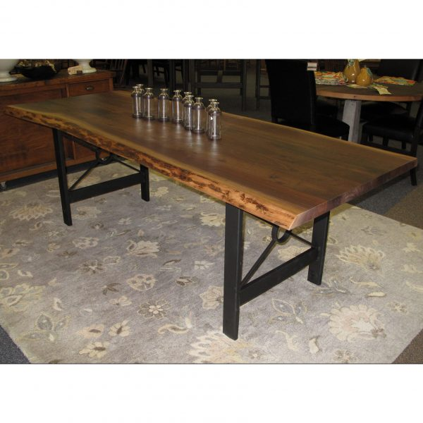 Fine Walnut Live Edge Glue Up Table With Target Style Steel Base Download Free Architecture Designs Scobabritishbridgeorg