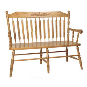 622 Acorn Deacons Bench with Arms - Walnut Creek Furniture
