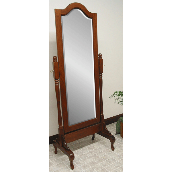 Cathedral Cheval Mirror With. Queen Anne Base